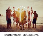 hexagon frame holiday summer... | Shutterstock . vector #300338396