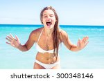 pretty blonde crying at camera... | Shutterstock . vector #300348146