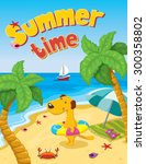 cartoon dog on the summer beach ... | Shutterstock .eps vector #300358802
