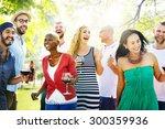 diverse people friends hanging... | Shutterstock . vector #300359936