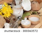 coconut and milk   oil coco for ... | Shutterstock . vector #300363572