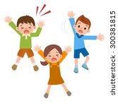 children who call for help | Shutterstock .eps vector #300381815