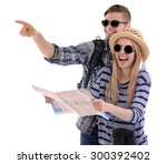 pair of travelers with map... | Shutterstock . vector #300392402