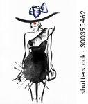 woman portrait with hat ... | Shutterstock . vector #300395462