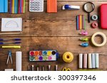 desk with stationary. studio... | Shutterstock . vector #300397346