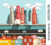 city   houses with highway and... | Shutterstock . vector #300398138