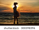 the silhouette of a slim... | Shutterstock . vector #300398396