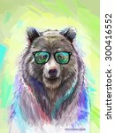 cool low poly hipster animal ... | Shutterstock .eps vector #300416552