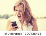 portrait angry young woman... | Shutterstock . vector #300426416
