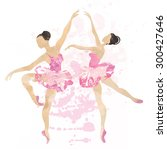 two watercolor ballerina...   Shutterstock . vector #300427646