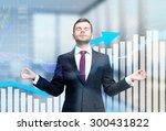 meditative businessman is... | Shutterstock . vector #300431822