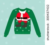 christmas sweater on blue... | Shutterstock .eps vector #300437432