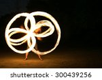 Fire Show Man In Action In...