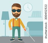 a blind caucasian with walking... | Shutterstock .eps vector #300452522