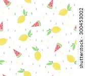 cute funny seamless pattern... | Shutterstock .eps vector #300453002