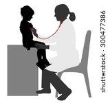 pediatrician examining of child ... | Shutterstock .eps vector #300477386