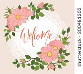 beautiful vintage card. floral... | Shutterstock .eps vector #300481202