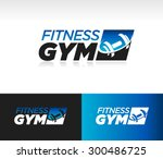 gym fitness barbell logo icon... | Shutterstock .eps vector #300486725
