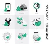vector icon set in a modern... | Shutterstock .eps vector #300495422
