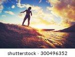 surfing at sunset. beautiful... | Shutterstock . vector #300496352