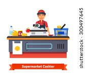 supermarket store counter desk... | Shutterstock .eps vector #300497645