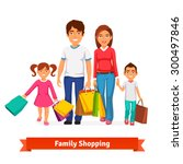 family shopping. father and... | Shutterstock .eps vector #300497846