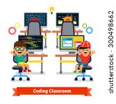 kids learning to code and... | Shutterstock .eps vector #300498662