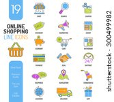 online shopping thin lines... | Shutterstock .eps vector #300499982