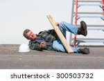 injured construction worker who ... | Shutterstock . vector #300503732