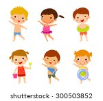 elements of kids summer holiday | Shutterstock .eps vector #300503852