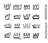 set of black hand drawn crowns. ... | Shutterstock .eps vector #300505226