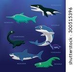 Sea Monsters Cartoon Vector...