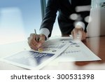 double exposure of businessman... | Shutterstock . vector #300531398