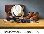 men's casual outfits on wooden... | Shutterstock . vector #300532172