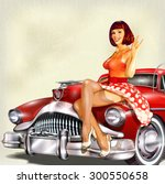 vintage background with pin up... | Shutterstock .eps vector #300550658