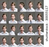 twenty portraits of a man with... | Shutterstock . vector #30055117