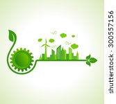 ecology concept with gear icon  ... | Shutterstock .eps vector #300557156