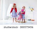 two children play indoors. kids ... | Shutterstock . vector #300575456