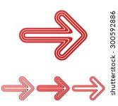 red line arrow logo design set