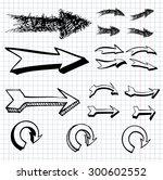 vector set of hand drawn arrows | Shutterstock .eps vector #300602552
