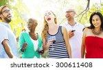diverse people friends hanging... | Shutterstock . vector #300611408