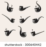 tobacco pipes set. vector | Shutterstock .eps vector #300640442