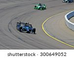 Newton, Iowa USA - July 17, 2015: Verizon IndyCar Series Iowa Corn Indy 300. 98 Gabby Chaves (R) Bogota, Colombia Bowers & Wilkins/Curb Honda BHA with Curb-Agajanian. On track in race practice. - stock photo