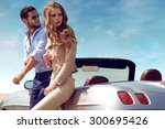 sexy couple in the car | Shutterstock . vector #300695426