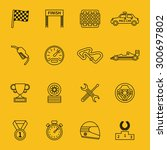 race flag and line racing icons.... | Shutterstock .eps vector #300697802