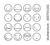 vector set of sixteen smile... | Shutterstock .eps vector #300701102