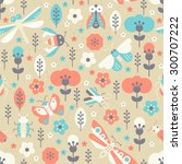 pastel seamless pattern with... | Shutterstock .eps vector #300707222