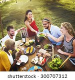 diverse people luncheon food... | Shutterstock . vector #300707312