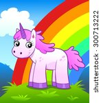 cartoon unicorn on the rainbow... | Shutterstock .eps vector #300713222