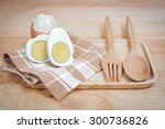 boiled eggs on wooden background | Shutterstock . vector #300736826